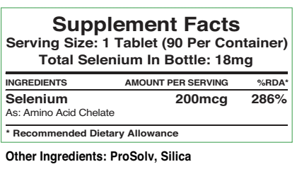 Supplement facts label for 200mcg selenium tablets