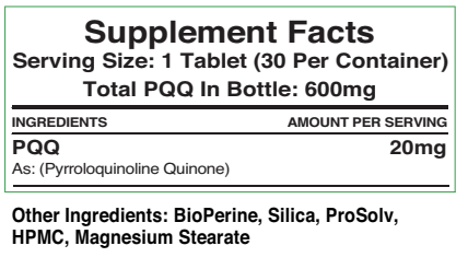 Supplement facts label for 20mg PQQ tablets