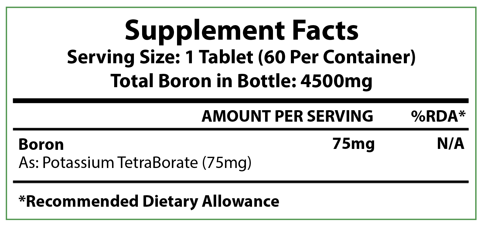 Supplement Facts label for the 75mg - 60 count Boron Tablets