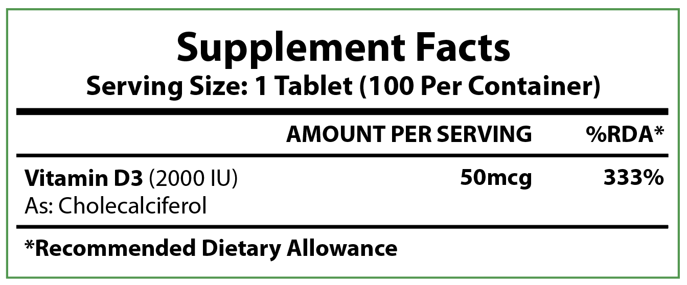 Supplement Facts label for our Vitamin D3 tables