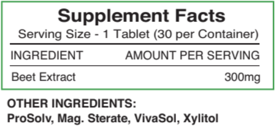 Supplement Facts for Beetroot Juice Tablets 300mg - 30 count