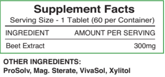Supplement Facts for Beetroot Juice Tablets 300mg - 60 count